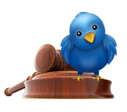 Twitter bird legal law hammer